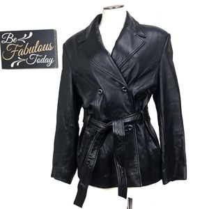 Vintage 90s Lord & Taylor Black Leather Trench